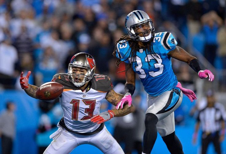 Monday Night Football: Buccaneers vs. Panthers:     October 10, 2016, 17-14, Buccaneers  -      Tre Boston of the Carolina Panthers defends a pass to Mike Evans of the Tampa Bay Buccaneers during the game at Bank of America Stadium on Oct. 10, 2016 in Charlotte, N.C.