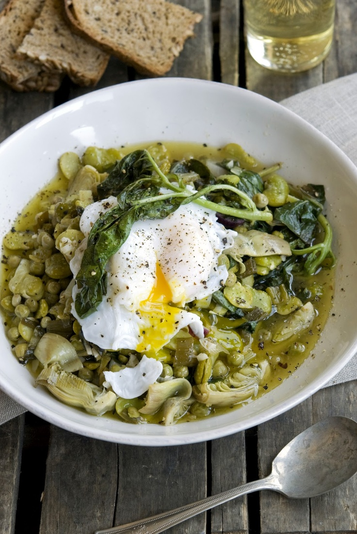Warm Fava Bean And Chanterelle Salad With Poached Eggs Recipe ...