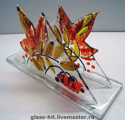 Fall Foliage Fused Glass Napkin Holder