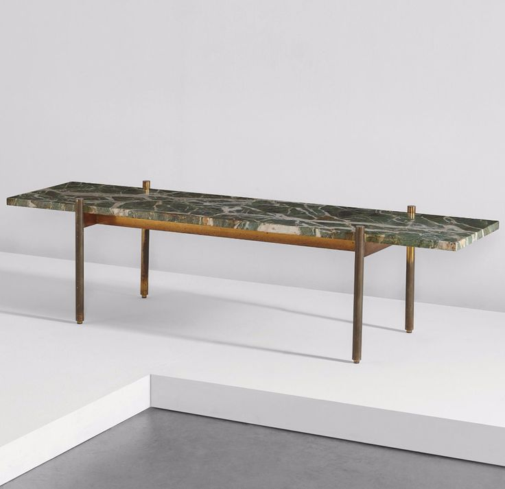 Gio Ponti; Brass and Marble Bench for Casa Matteo Longoni, 1950s.