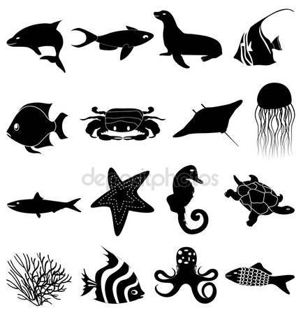Image result for silhouette images sea life