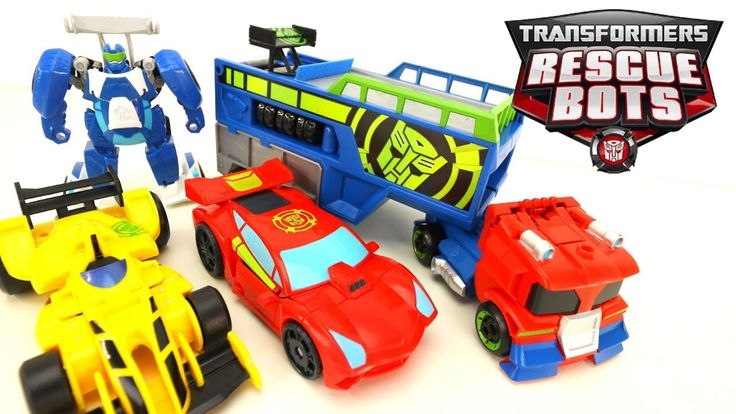 New Transformers Rescue Bots One Step Changers Optimus Prime Racing Trailer with Bumblebee and Sideswipe! Optimus Primes trailer turns into a COOL ramp! And Bumblebee and Sideswipe can be pulled back to take off racing!   More Transformers Videos  Transformers One Step Changers Robots in Disguise Wave 1 2 3 6 Wave 8 NEW Bumblebee and Sideswipe!! - https://youtu.be/tYdaJKo6WGo  Transformers Three Step Changers Robots in Disguise Wave 1 and 6 Bumblebee Drift Thunderhoof Toys…