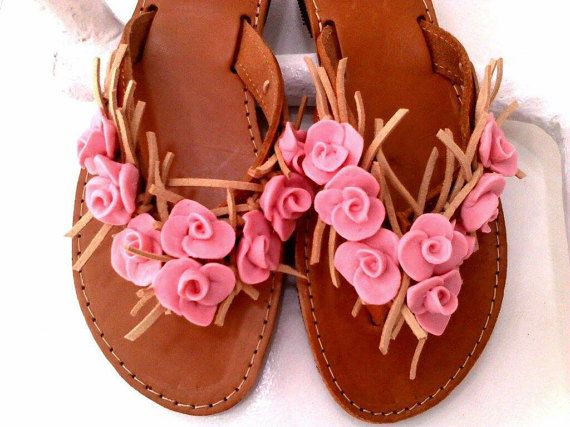 pink porcelain roses sandals by boutiqueofsandals on Etsy