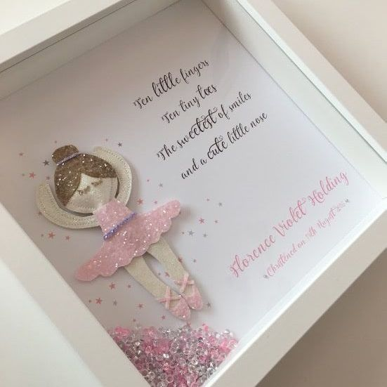A stunning puffy glitter ballerina sat within pink and grey stars and a cute ten little fingers verse We can add names dates christening details etc