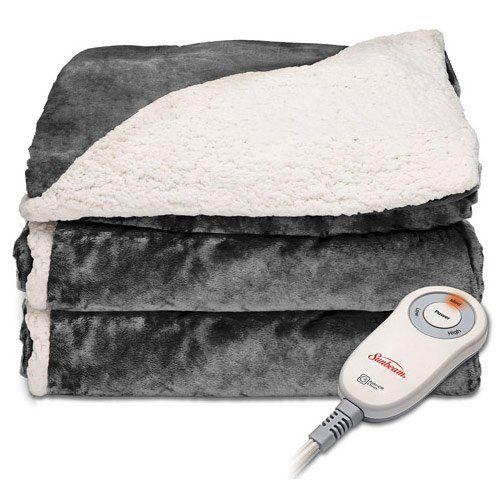 Sunbeam Sherpa Microplush Electric Heated Throw Blanket