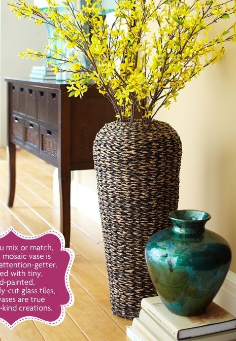 I love decorating with big vases. They are so versatile