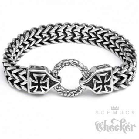 Edelstahl Herren Armband Armkette Eisernes Kreuz Anker Panzerkette Biker Rocker - Schmuck-Checker