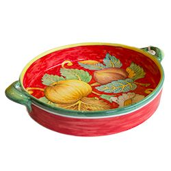 "Hand painted in Tuscany by Ceramiche IMA in the gorgeous Frutta Fonda Rosso design. Set it out and fill it with fruit or vegetables - or not! It stands alone! 14"" across including handles, 2.5"" Hi $180.00 each Shop now! http://apps.agenne.com/ProductDisplay.cfm?id=579855&cid=377 ‪#‎ArteItalica‬ ‪#‎Vietri‬ ‪#‎MatchPetwer‬ ‪#‎CarrolBoyes‬ ‪#‎ItalianCeramics‬ ‪#‎PolishPottery‬ ‪#‎ShopTheClayCorner‬ ‪#‎ShopLocal‬ ‪#‎ShopSmall‬ ‪#‎Sacramento‬ ‪#‎GraniteBay‬ ‪#‎Roseville‬ ‪#‎ElDoradoHills‬"