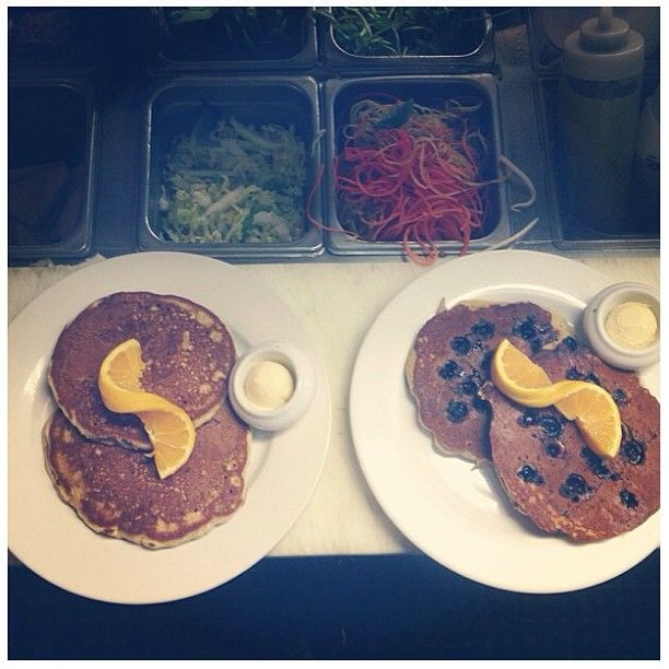 Join us for brunch, serving till 3pm today, Sunday and Monday! Blueberry and plain pancakes, no gluten, tons of taste!