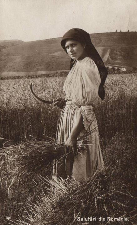 vintage Romanian woman at work