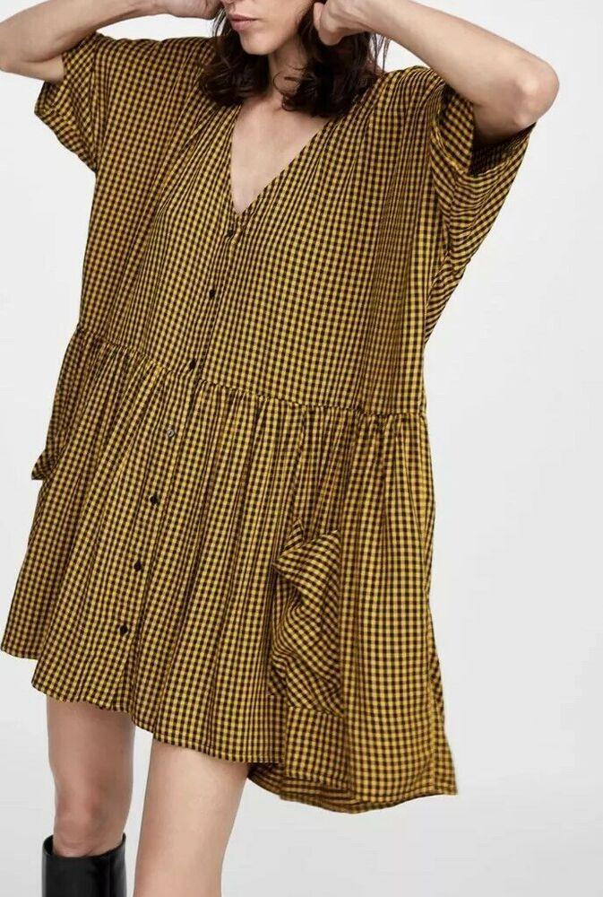 98763226 Zara Woman Cindy Dress Large Black Yellow Button Front Check New NWT L  Oversized | eBay