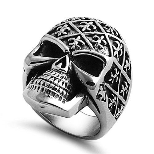 316L Stainless Steel High Polish Casted Biker Skull Head with Fluer-De-Lis Design Men's Fashion Ring (Size 9 to 15) The World Jewelry Center. $19.95. Promptly Packaged with Free Gift Box and Gift Bag
