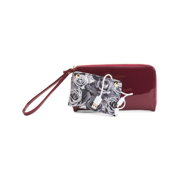 Charging Zip Wallet ($17) ❤ liked on Polyvore featuring bags, wallets, accordion zip wallet, leather wristlet wallet, zip around wristlet, zip wallet and leather zip around wallet