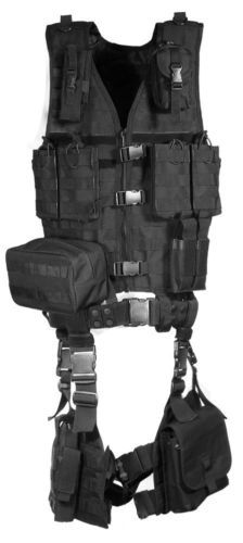 10-PIECE-VEST-HUNTING-Law-Enforcement-Tactical-Gear-Ammo-Rifle-Mag-UTG-Black
