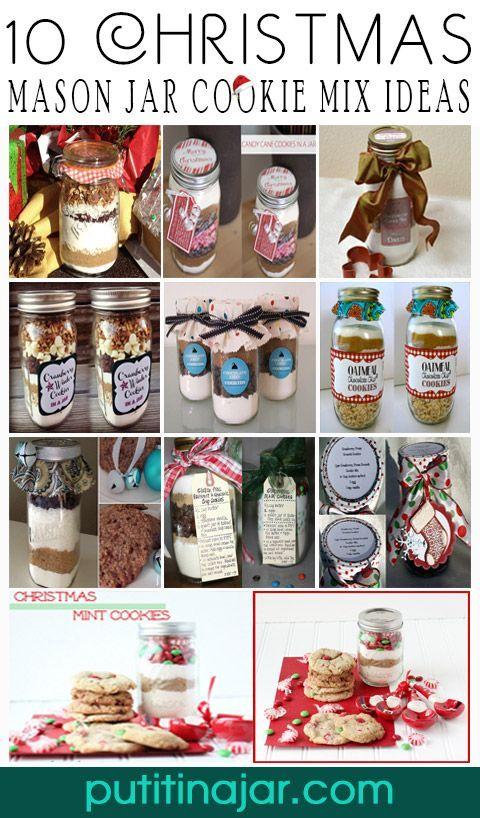 10 DIY Mason Jar Christmas Cookie Mix Gift Ideas   Tutorial   via putitinajar.com