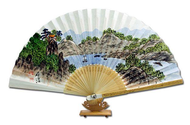 Traditional Folding Fan - Baekjea : mountain and river in summer