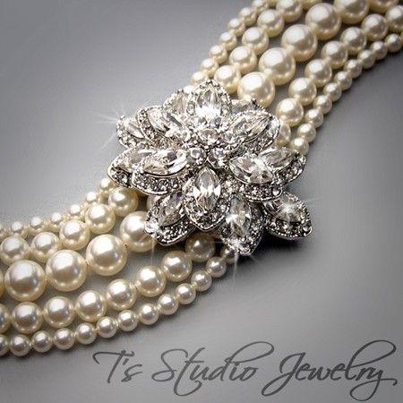 Pearl Bridal Wedding Bracelet Multi Strand Cuff Brooch by TZTUDIO, $88.00