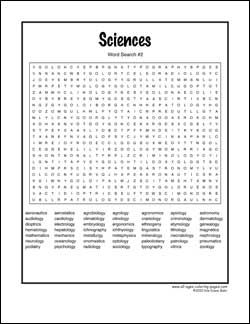 This is an image of Crafty Science Word Search Printable