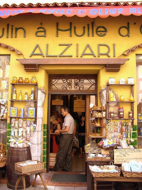 ALZIERI~ In le  Vieux Nice. This family owned shop has their own olive groves, and presses their own olive oil. Home of those gorgeous blue and yellow olive oil tins, and sweet, wonderful, cold pressed olive oil.