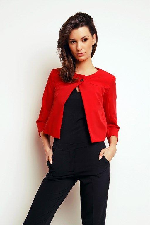 Intensywnie czerwony mini żakiet damski