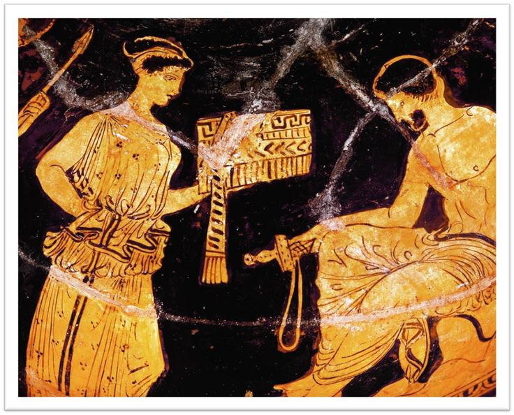 Odysseus and Kalypso. The goddess presents a box of provisions for the hero's voyage. The box is tied with a sash. The bearded Odysseus sits on a rock on the shore holding a sword and looking pensive. Athenian red-figure vase, c. 450 BC.