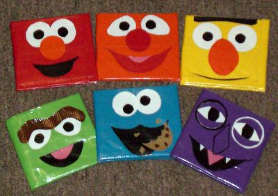 :) duct tape wallets in sesame street characters! cookie monster! :)