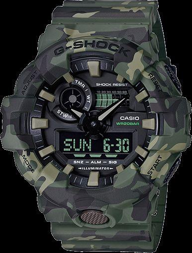 64115e784 CASIO G-SHOCK, GA-700CM-3A, ANALOG DIGITAL, GREEN CAMOUFLAGE, MATTE  #CasioCasioimport