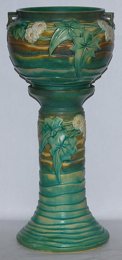 """Roseville Pottery ~ Luffa ~ """"Green"""" ~ Jardiniere and Pedestal ~ from Just Art Pottery"""