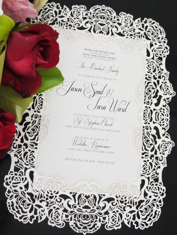 Sydney laser cut wedding invitation - Custom colours avaliable - a4 size invitation - intricate flower pattern.