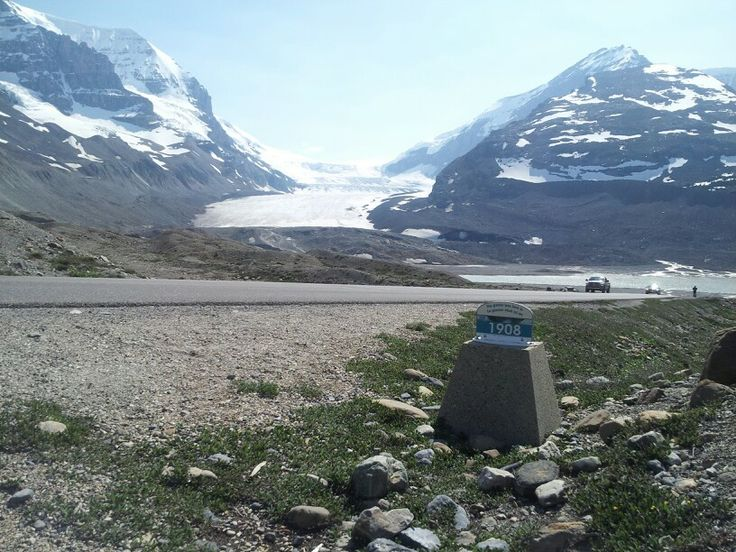 Columbia Ice Fields, at the 1908 marker, has receded a bit