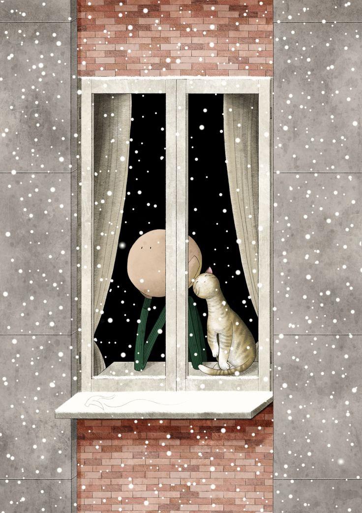 Mauro Falcioni ~ The Paper-Cat Illustrations || Dove nascono i fiocchi di neve ~ «Il cielo dipinge il silenzio.»