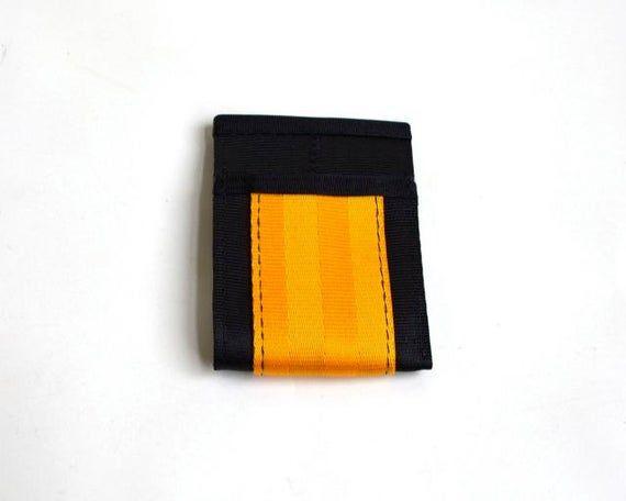 Minimalist Wallet in Black and Gold Seatbelt Webbing – Vegan Wallet – Credit Card Holder