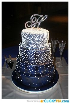 """Beaded Opulence Wedding Cake"" - All Edible. I Love the Midnight Blue and Silver/White."
