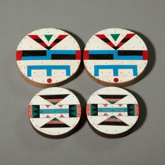 Africa | Zulu Ear Plugs | ca. 1930 - 1950 | They are made of soft wood with finely worked vinyl mosaic overlays.