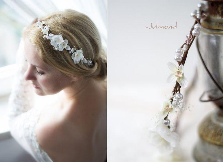 Haarschmuck & Kopfputz - Haarkranz Tiara Hochzeit Blumen Perlen Braut - ein Designerstück von _Julmond_ bei DaWanda