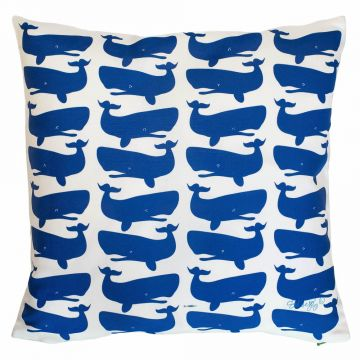 Cute whale pillow from Tröskö Design.
