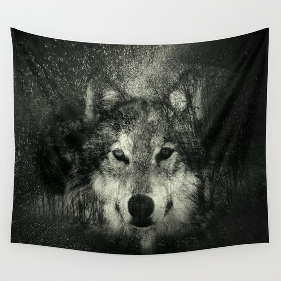 Wolf Black and White Wall Tapestry