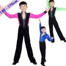 Traje de la danza del niño de baile latino camisa y pantalón de verano estilo de hombre 110 - 170 cm de fitness de baile latino etapa ropa baile de salón(China (Mainland))
