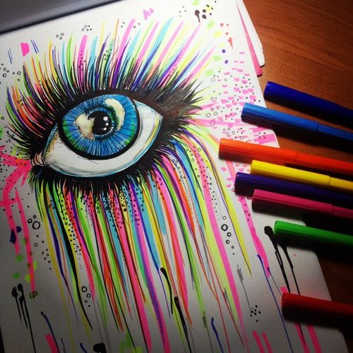 this is cool rainbow marker eye drawing art drawing