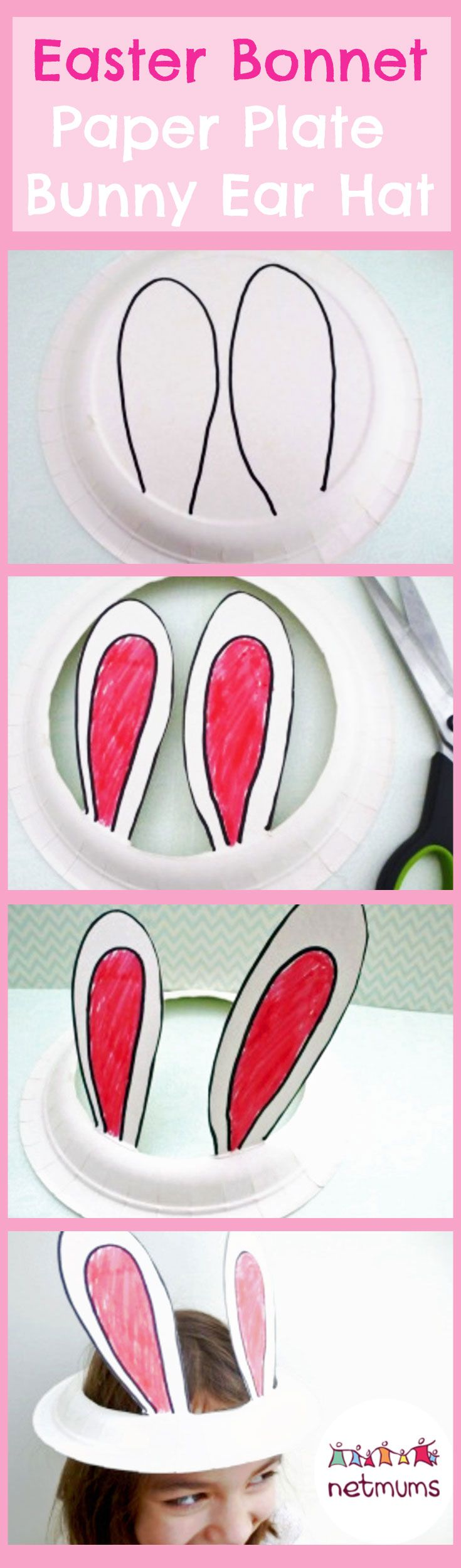 Make this super cute bunny ears Easter bonnet in minutes. A cute and easy Easter craft for kids.