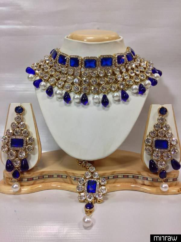 Kundan Studded Jewelry Set in Royal Blue with Pearls.