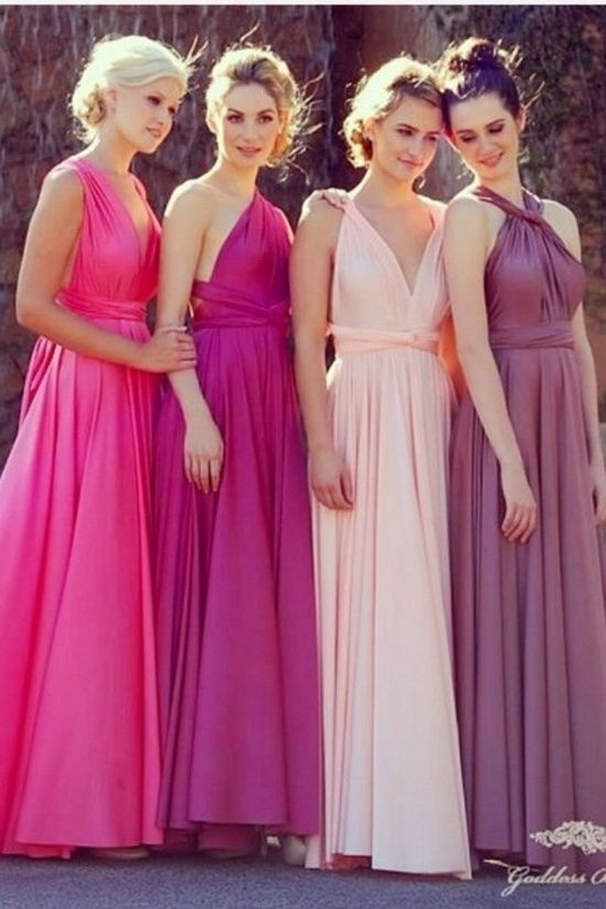 I adore the light pink one. Pretty sure it's the same dress worn different ways.. But like the baby pink the best