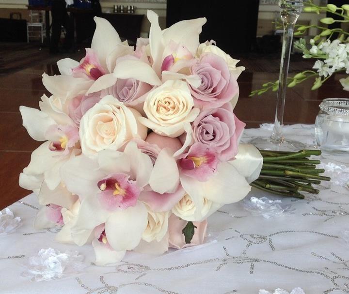 Bridal Bouquet Ivory Roses Dusty Rose Blush White Cymbidium Orchids Hand