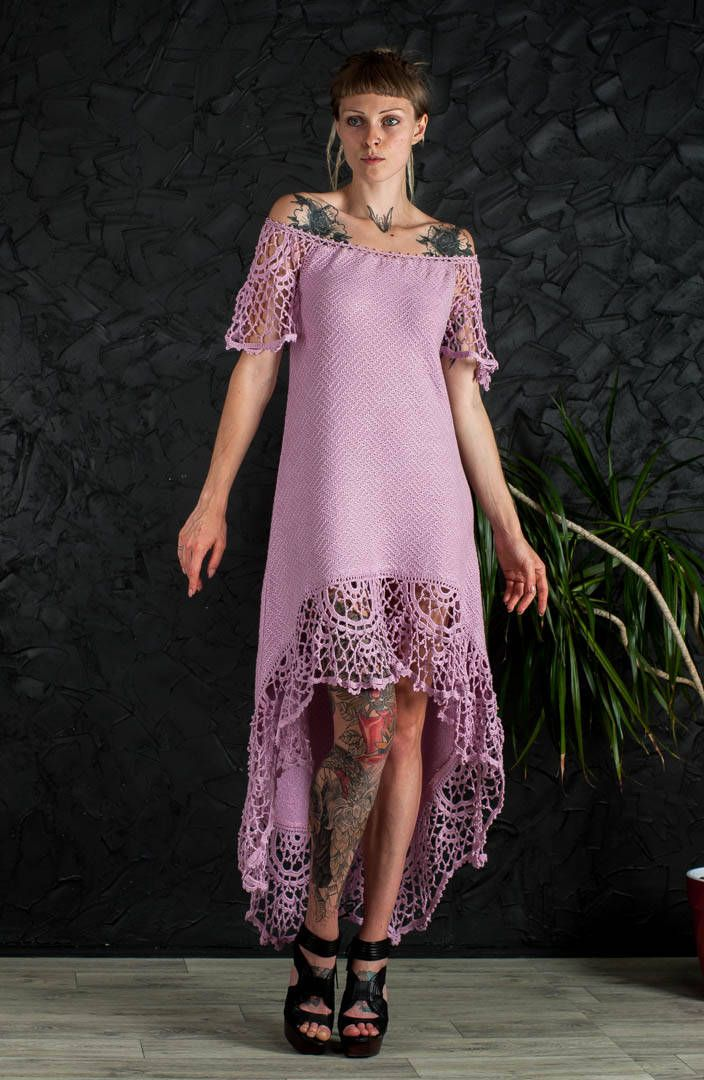 Dusty pink crochet Dress asymmetric Dress Handmade Maxi Dress Crochet Pink Dress KNIT lace Dress CrocheT EVENING Dress Knit  floor Dress by CrochetDressTalita on Etsy