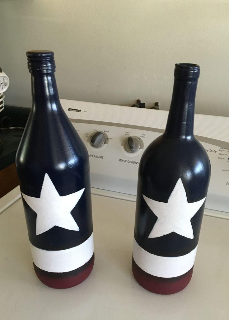 Patriotic wine bottles mason jar wine bottle crafts for Wine bottle arts and crafts