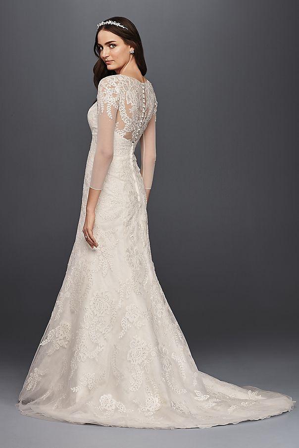 Oleg Cassini Lace Wedding Dress With 3 4 Sleeves David S Bridal