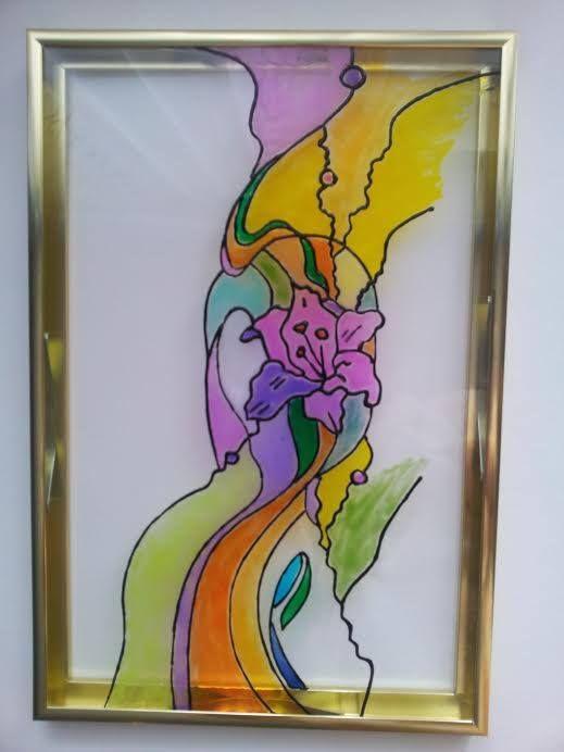 """Витраж """"Весенняя палитра""""  Завораживающее волшебство красок, которые как-будто случайно разлились по стеклу.... А если присмотреться, можно увидеть распускающуюся лилию! Утонченно и воздушно.  Материал: стекло, витражные краски, металлическая рамка. Может быть дополнена подсветкой или выполнена на стеклянной вставке (двери, перегородки, кухонный гарнитур, зеркало или даже окно).  Размер: 310х210 мм. Ручная работа.  Купить: http://design-atelier.biz/category/vitrazhi/"""