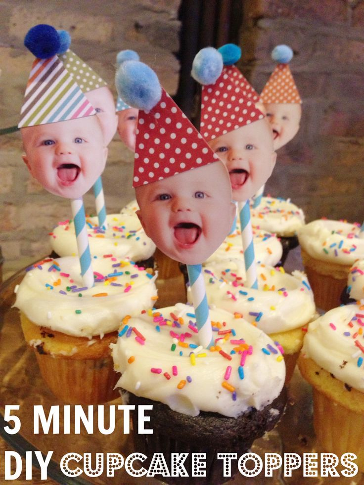 5 Minute DIY 1st Birthday Cupcake Toppers www.weheartparties.com