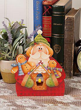 Santa Tealight by Renee Mullins - Decorative Painting Patterns from ArtistsClub.com