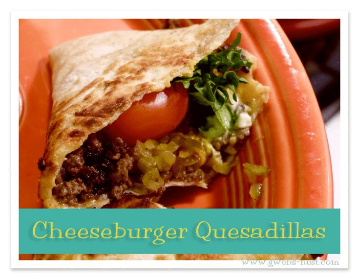 Cheeseburger Quesadillas are man pleasing grub...perfectly sized for party food, and flat out DELICIOUS!  You can top these with your favorite burger fixing to create a DIY burger bar on family night.  This is what I'll be cooking up for my Trim Healthy Man on Father's Day, so I'm gonna make some for you today here on Trim Healthy Tuesday!